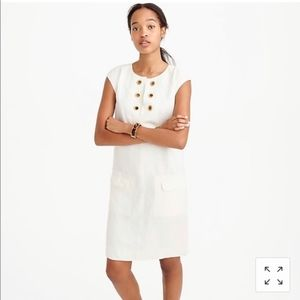 J Crew White Linen Shift Dress With Grommets